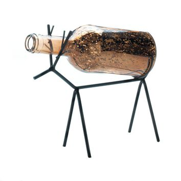 Iron And Glass Bottle Christmas Reindeer Candle Holder Lantern
