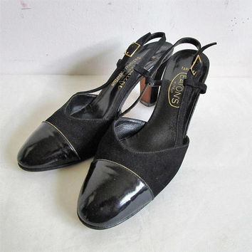 Vintage 80s Amalfi by Rangoni Shoes Suede Leather Strappy Heels 80s Eatons Evening Black Footwear 8M