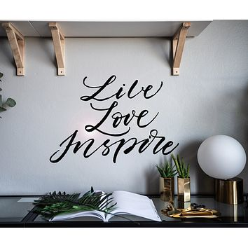 Vinyl Wall Decal Lettering Words Live Love Inspire Room Home Decor Stickers Mural 22.5 in x 15 in gz185