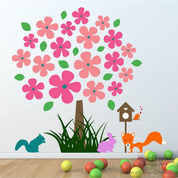 Flower Nursery Tree Wall Decal - by Decor Designs Decals, Nursery Wall Decals- Kids Room Wall Decals - Animal Decals - Flower Wall Decals - Mural - Playroom Decals