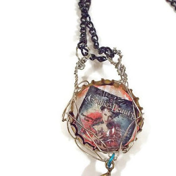 Gothic Beauty Back Issue Wire Wrapped Bottle Cap Necklace