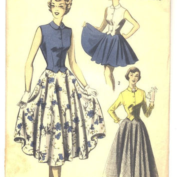 Vintage 1950s Ladies Dress Pattern, Knee Length Dress, Sleeveless Blouse, Full Skirt Pattern, Advance Sewing Pattern 5496, Bust 35, Hip 38