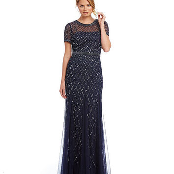 Adrianna Papell Beaded Short Sleeve Gown | Dillards