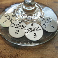 "Hand Stamped Funny Wine Charms, Wine Markers, Stemware, Hostess-Housewarming Gift, ""Drunk"" Wine Charm, Bachelorette Party Gift, Party Favors"