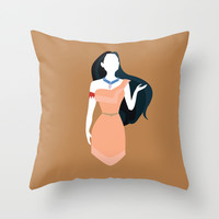 Pocahontas Disney Princess Throw Pillow by Alice Wieckowska