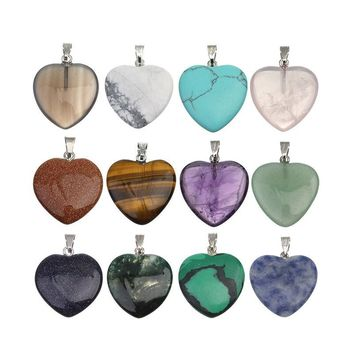 Heart Natural Stone Druzy Pendants