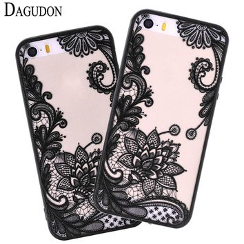 DAGUDON Phone Case For Apple iPhone 5 case Luxury Flower Sexy Lace Floral Paisley Mandala Henna Clear Cover For iPhone 5 5s Capa