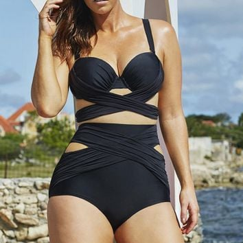 DD Cup Black Wrap Underwire High Waist Plus Size Bikini Set Push Up Swimsuits Beachwear Bandage Bathing Suit Big Size XXXXL