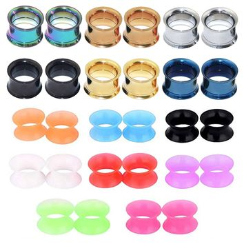 BodyJ4You 28PC Tunnels Screw Fit Double Flare Plugs 4G-16mm Steel Silicone Ear Stretching Gauges Set