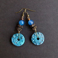 Rustic Blue Disc Earrings Textured Ceramic Wheels with Cast Bronze and Periwinkle Blue Glass Accents Long Dangles Artisan Boho Jewelry