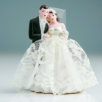Vintage 1940s Bride and Groom Wedding Cake Topper Hand Painted Ceramic / 1949 Marblelime Noverlty Co