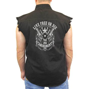 Men's Sleeveless Denim Shirt Live Free or Die 2nd Amendment Biker