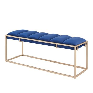 Brooklyn Velvet Fabric Bench Serene Dark Blue