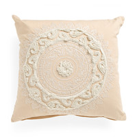 Made In India 22x22 Embroidered Medallion Pillow - Decorative Pillows - T.J.Maxx
