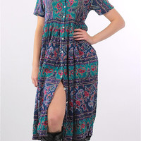 90s grunge boho floral striped  paisley maxi dress