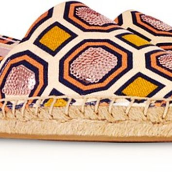 Tory Burch Cecily Ballet Pink Octagon Square Canvas Embellished Flat Espadrilles