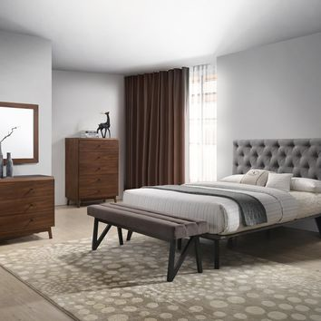 Modrest Gibson Modern Grey & Walnut Bedroom Set