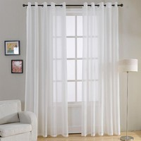 Top Finel Plain Voile Curtain White Sheer Curtains for Living Room Bedroom Kitchen Decorative Door Curtain Window Tulle Drapes