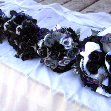 Bridal Party Package, Purple, Black,Silver, White, Wedding Bouquet, Gothic, Satin, Lace, Vintage Victorian Inspired, Glam, Roses, Glitter