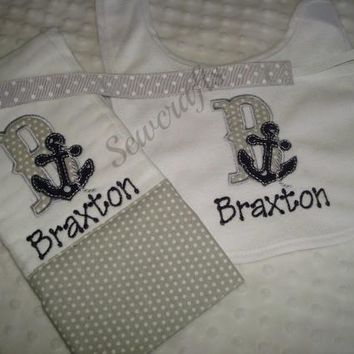 Braxton Personalized Bib and Burp Cloth with Choice of Name - Premium Quality 6-ply Burp Cloths