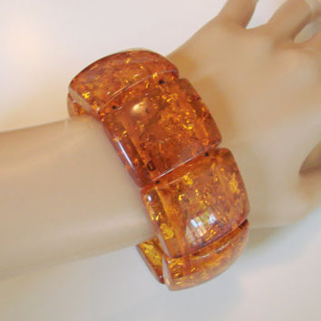Wide Vintage Chunky Amber Lucite Bracelet / Retro / Jewelry / Jewellery