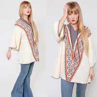 Vintage 70s ETHNIC Sweater Earth Tone TRIBAL Print Pull Over Boho Hippie Jumper