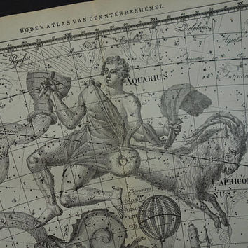 Aquarius zodiac sign old star chart Dutch vintage astronomy map of Capricorn hemisphere constellation stars horoscope astrology print