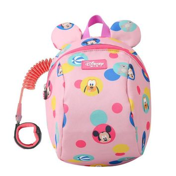 Toddler Backpack class Disney 2In1 Toddler Anti Lost Backpack 1.8M Antilost Wrist Link Kids Walking Strap Leashes Bag Mickey Minnie Schoolbag AT_50_3