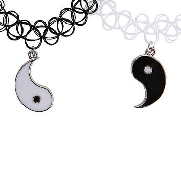 Black & White Yin-Yang Tattoo Choker Set