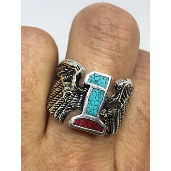 Vintage 1980's Native American Style Southwestern Real Turquoise Stone inlay Men's Ring