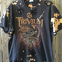 TRIVIUM, adult XL, distressed band tee, grunge heavy metal, distressed shirt, bleached shirt, t shirt large