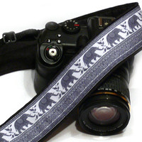 Lucky Elephants Camera Strap,  dSLR Camera Strap, SLR Camera Strap, Grey Camera Strap. Men, Women Accessories