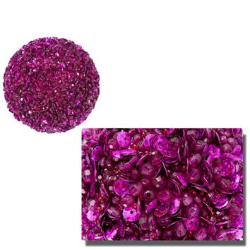 Lavish Fuchsia Pink Fully Sequined & Beaded Christmas Ball Ornament 4.25""