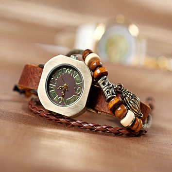 New Arrival Stylish Great Deal Awesome Hot Sale Shiny Gift Vintage Leather Bracelet Watch Ladies Watch Bracelet [6586342727]