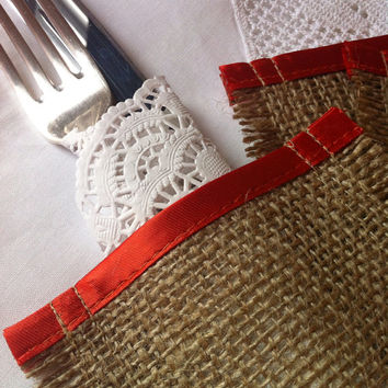 wedding burlap cutlery holders sleeves perfect dinner party decoration uk satin trim silverware wrap