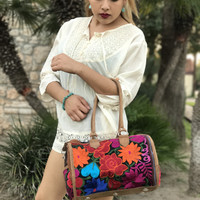 Leather Embroidered Handbag