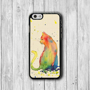 Sketch Cat Watercolor Drawing iPhone Cases, Sweet iPhone 6 Cover, iPhone 6 Plus, iPhone 5 Hard Case, Soft Rubber, Gadgets Electronics Cases