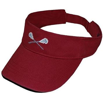 Lacrosse Sticks Needlepoint Visor in Rust Red by Smathers & Branson