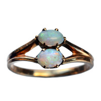 1900s Edwardian Two Opal Ring, 10K Gold : Erie Basin Antiques