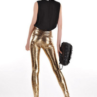 Europe and the United States selling fashion trend of gold snakeskin pattern Slim fake skin Leggings