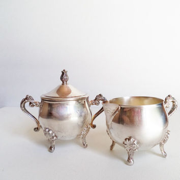 Vintage Silver Plate Sugar Bowl and Creamer Set Leonard Silver Ornate Housewares Serving Footed