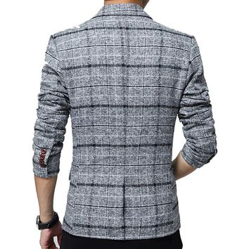 SITENG Men's Tweed Plaid Blazer Jacket Casual Business Long Sleeve One Button Slim Fit Suits Single-Breast Sport Coat Outwear(Grey US XS)