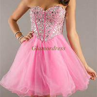 short tulle prom dresses with rhinestone / sweetheart homecoming dress / cheap gowns for holiday party on sale
