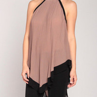 Pleated Waterfall Halter in Taupe