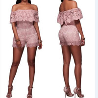 Pink Lace Off Shoulder Romper