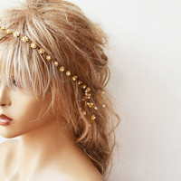Bridal Headband, Wedding Headband, Gold Flowers and Pearls, Flowers Crown Hair, Wedding Accessory, Bridal Hair Accessory