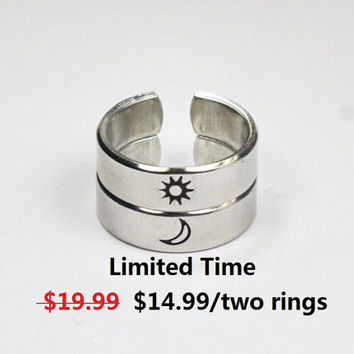 Sun And Moon Ring Set, Simple Couples Rings, Friendship Gift Rings, Custom Personalized Hand Stamped Aluminum Ring