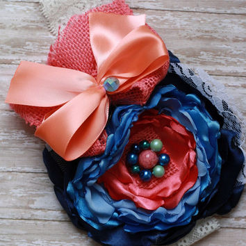 M2M SEW sassy, blooming days, headband, over the top, couture, coral, blue, baby girl, bow, hairbow, Easter, custom, toddler, ott, vintage