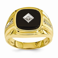 14k Yellow Rhodium Mens Onyx Diamond Ring