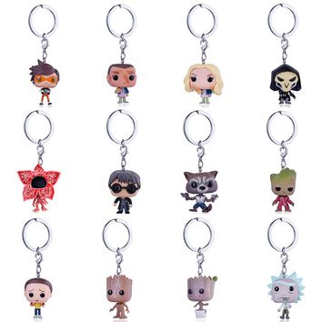 Funko Pop Keychain Overwatch Marvel rick and morty Key chain Movie Anime Key ring Daenerys Targaryen Figure Kid Toy
